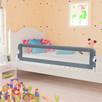 vidaXL Sigurnosna ogradica za dječji krevet siva 180 x 42 cm poliester