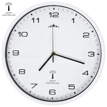 vidaXL Radijski upravljan zidni sat s kvarcnim mehanizmom 31 cm bijeli