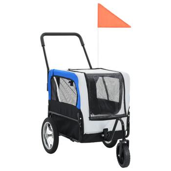 vidaXL 2-u-1 prikolica za bicikl i kolica za kućne ljubimce sivo-plava