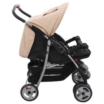 vidaXL Dječja kolica za blizance bež i crna čelična