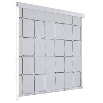 vidaXL Rolo zastor za tuš 80 x 240 cm s uzorkom kvadrata