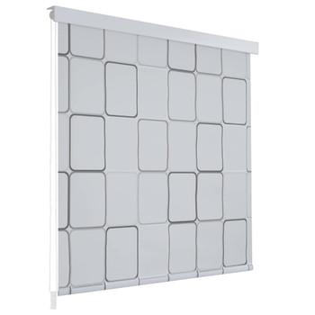 vidaXL Rolo zastor za tuš 140 x 240 cm s uzorkom kvadrata