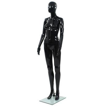 vidaXL Ženska lutka za izlog sa staklenim postoljem crna sjajna 175 cm