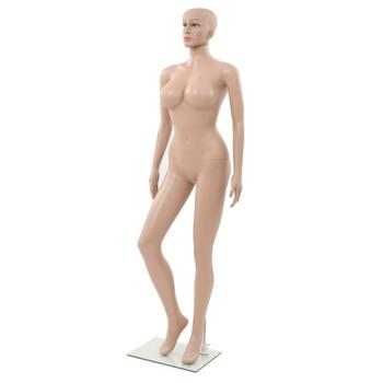 vidaXL Seksi ženska lutka za izlog sa staklenim postoljem bež 180 cm