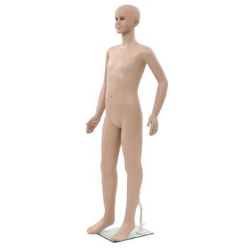 vidaXL Dječja lutka za izlog sa staklenim postoljem bež 140 cm