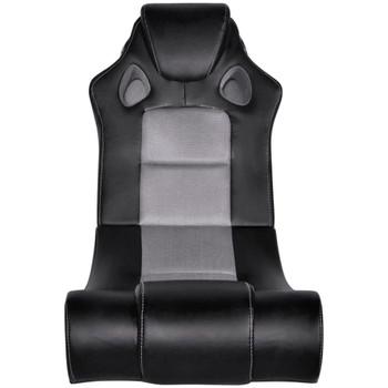 Crno-siva stolica za ljuljanje od umjetne kože s audio