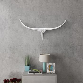 Zidna Aluminijska Dekoracija Glava Bika Boja Srebra 72 cm