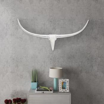 Zidna Aluminijska Dekoracija Glava Bika Srebrna boja 96 cm