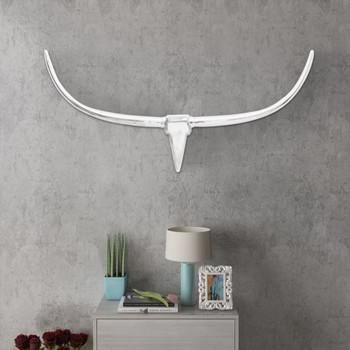 Zidna Aluminijska Dekoracija Glava Bika Srebrna Boja 125 cm