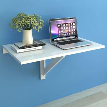 VidaXL Preklopni zidni stol Bijeli 100x60 cm