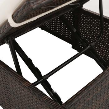 vidaXL Ležaljka za sunčanje smeđa 195 x 60 cm poliratan