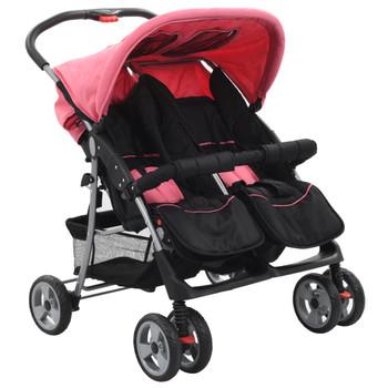 vidaXL Dječja kolica za blizance ružičasto-crna čelična