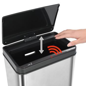 vidaXL Kanta za otpad sa senzorom srebrno-crna nehrđajući čelik 60 L