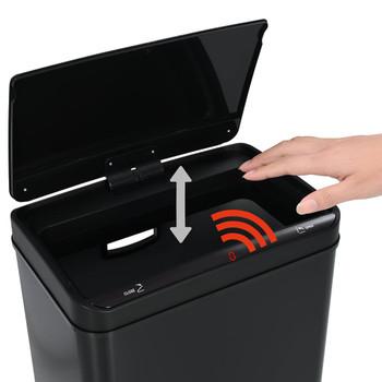 vidaXL Kanta za otpad sa senzorom od nehrđajućeg čelika crna 80 L
