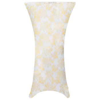 vidaXL Navlake za stolice 2 kom rastezljive 70 cm bijelo-zlatne