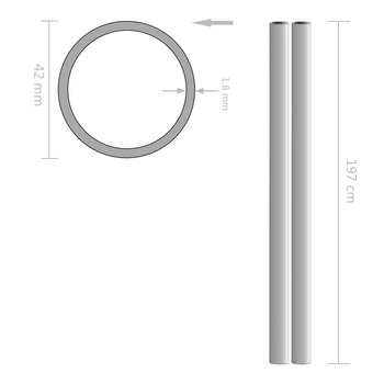 vidaXL Cijevi od nehrđajućeg čelika 2 kom okrugle V2A 2m Ø 42 x 1,8 mm