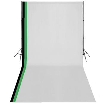 vidaXL Fotografska oprema s 3 pozadine i podesivim okvirom 3 x 6 m