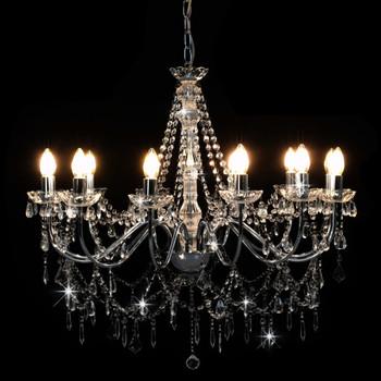 vidaXL Luster s perlama srebrni 12 žarulja E14