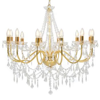 vidaXL Luster s perlama zlatni 12 žarulja E14