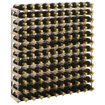 vidaXL Stalak za vino za 120 boca od masivne borovine