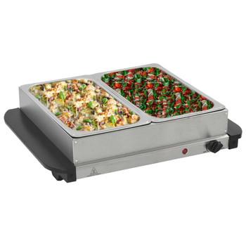 vidaXL Poslužavnik za bife od nehrđajućeg čelika 200 W 2 x 2,5 L