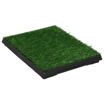 vidaXL Toalet za ljubimce s pladnjem i travom zeleni 63 x 50 x 7 cm