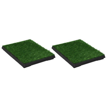 vidaXL Toaleti za ljubimce s pladnjem i travom 2 kom zeleni 63x50x7 cm
