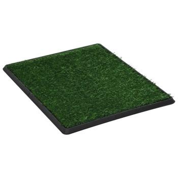 vidaXL Toalet za ljubimce s pladnjem i travom zeleni 64 x 51 x 3 cm