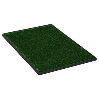 vidaXL Toalet za ljubimce s pladnjem i travom zeleni 76 x 51 x 3 cm