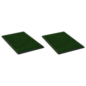 vidaXL Toaleti za ljubimce s pladnjem i travom 2 kom zeleni 76x51x3 cm