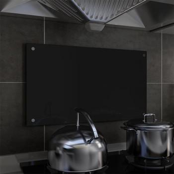 vidaXL Kuhinjska zaštita od prskanja crna 70 x 40 cm kaljeno staklo