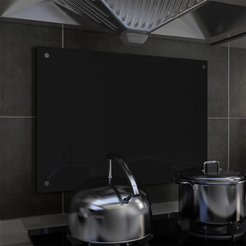 vidaXL Kuhinjska zaštita od prskanja crna 70 x 50 cm kaljeno staklo