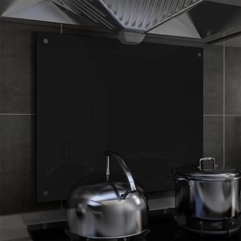 vidaXL Kuhinjska zaštita od prskanja crna 70 x 60 cm kaljeno staklo