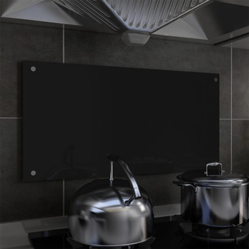 vidaXL Kuhinjska zaštita od prskanja crna 80 x 40 cm kaljeno staklo