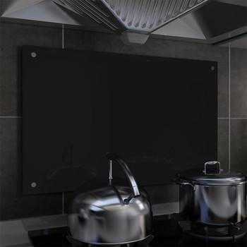 vidaXL Kuhinjska zaštita od prskanja crna 80 x 50 cm kaljeno staklo