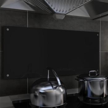 vidaXL Kuhinjska zaštita od prskanja crna 90 x 40 cm kaljeno staklo