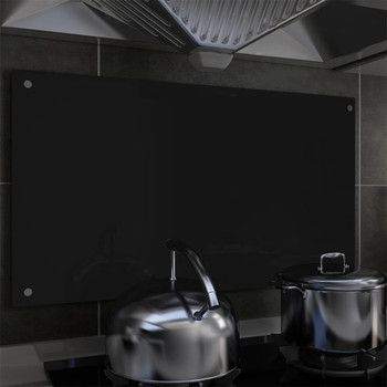 vidaXL Kuhinjska zaštita od prskanja crna 90 x 50 cm kaljeno staklo