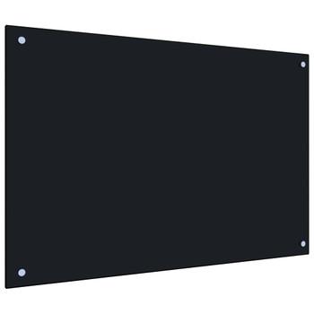 vidaXL Kuhinjska zaštita od prskanja crna 90 x 60 cm kaljeno staklo