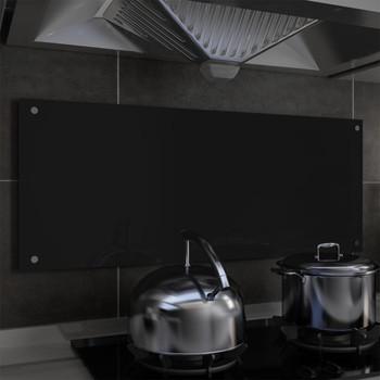 vidaXL Kuhinjska zaštita od prskanja crna 100 x 40 cm kaljeno staklo