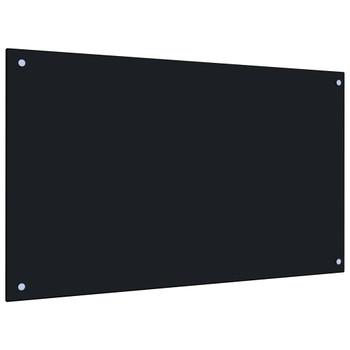 vidaXL Kuhinjska zaštita od prskanja crna 100 x 60 cm kaljeno staklo