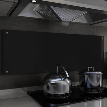 vidaXL Kuhinjska zaštita od prskanja crna 120 x 40 cm kaljeno staklo