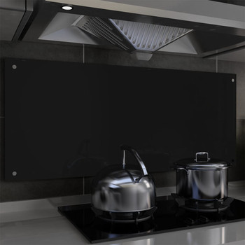 vidaXL Kuhinjska zaštita od prskanja crna 120 x 50 cm kaljeno staklo