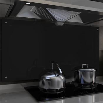 vidaXL Kuhinjska zaštita od prskanja crna 120 x 60 cm kaljeno staklo