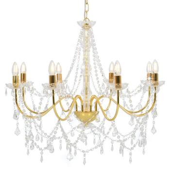 vidaXL Luster s perlama zlatni 8 žarulja E14