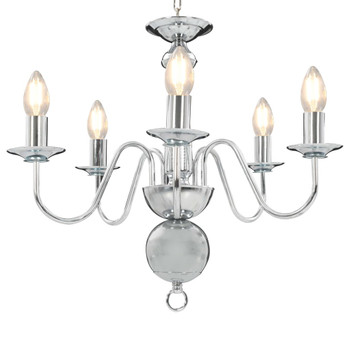 vidaXL Luster srebrni 5 žarulja E14