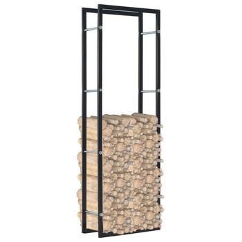 vidaXL Stalak za drva za ogrjev crni 50 x 20 x 150 cm čelični