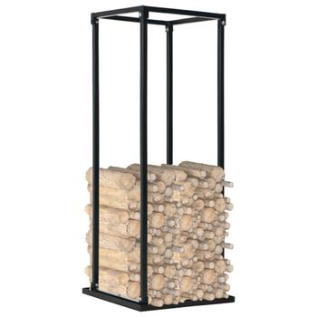 vidaXL Stalak za drva za ogrjev s bazom crni 37 x 37 x 113 cm čelični