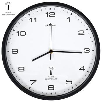 vidaXL Radijski upravljan zidni sat s kvarcnim mehanizmom 31 cm crno bijeli