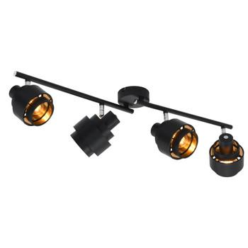 vidaXL Četverosmjerni reflektor crni E14