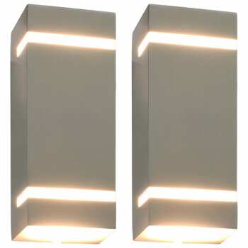 vidaXL Vanjske zidne svjetiljke 2 kom 35 W srebrne pravokutne